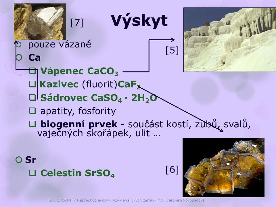 Výskyt [7] [5] Ca Vápenec CaCO3 Kazivec (fluorit)CaF2